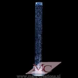 Bubbelbuis / Bubbelunit Ø: 10 cm, H: 150 cm, Wanddikte 3 mm, Verlichting: Witte LEDS, Voet: Rond, Kleur voet: Zilver.
