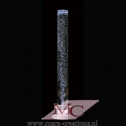 Bubbelbuis / Bubbelunit Ø: 15 cm, H: 150 cm, Wanddikte 5 mm, Verlichting: LED kleurenwisseling, Voet: Rond, Kleur voet: Zilver.