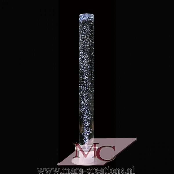 Bubble-Unit Ø: 15 cm, Totale hoogte: 150 cm, Wanddikte 5 mm, Verlichting: Autom. kleurenwisseling, Voet: Rond, kleur zilver.