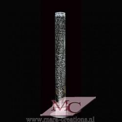 Bubbelbuis / Bubbelunit Ø: 15 cm, H: 150 cm, Wanddikte 3 mm, Verlichting: LED, kleur wit, Voet: Rond, Kleur voet: Zilver.