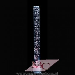 Bubbelbuis / Bubbelunit, Ø: 10 cm, H: 110 cm, Wanddikte: 5 mm, Verlichting: LED, kleur wit, Voet: Rond, Kleur voet: Zwart.