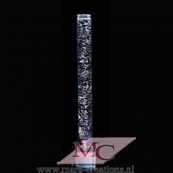Bubble-Unit Ø: 10 cm, Totale hoogte: 110 cm, Wanddikte 5 mm, Verlichting: LEDS wit, Voet: Rond, kleur zwart.