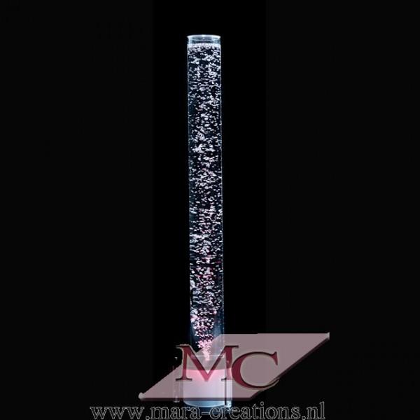Bubbelbuis / Bubbelunit, Ø: 10 cm, H: 110 cm, Wanddikte: 3 mm, Verlichting: LED, kleur wit, Voet: Rond, Kleur voet: Zwart.
