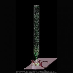 Bubble-Unit Ø: 10 cm, Totale hoogte: 150 cm, Wanddikte 5 mm, Verlichting: LEDS wit, Voet: Rond, kleur zwart.