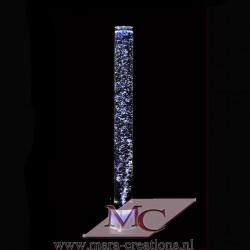 Bubbelbuis / Bubbelunit Ø: 10 cm, H: 150 cm, Wanddikte 5 mm, Verlichting: Witte LEDS, Voet: Rond, Kleur voet: Zwart.