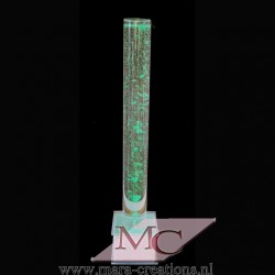 Bubbelbuis / Bubbelunit Ø: 15 cm, H: 145 cm, Wanddikte 5 mm, Verlichting: Autom. kleurenwisseling, Voet: Vierkant, kleur wit.