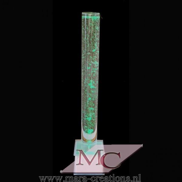 Bubble-Unit Ø: 15 cm, Totale hoogte: 145 cm, Wanddikte 5 mm, Verlichting: Autom. kleurenwisseling, Voet: Vierkant, kleur wit.
