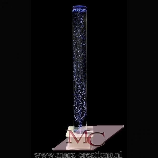 Bubbelbuis + TIMER Ø: 20 cm, H: 200 cm, Wanddikte 5 mm, Verlichting: Autom. LED kleurenwisseling, Voet: Vierkant, kleur zilver.