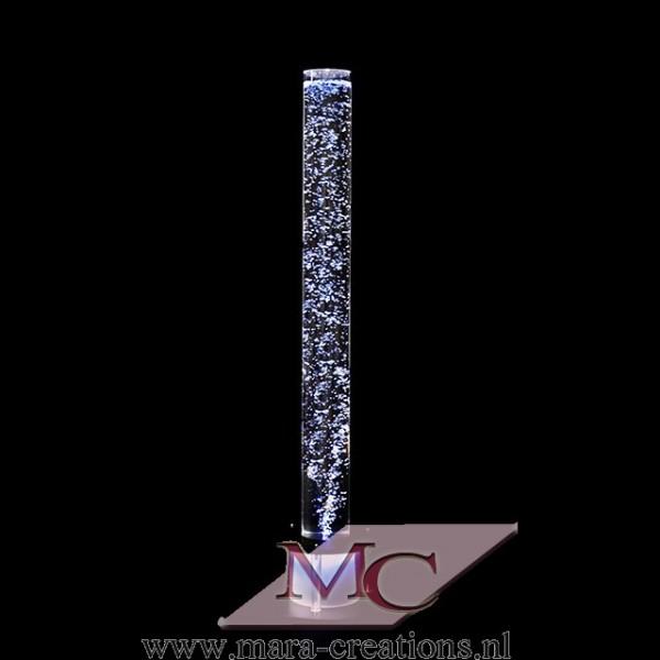 Bubble-Unit Ø: 10 cm, Totale hoogte: 110 cm, Verlichting: Kleur wit, Voet: Kleur zilver.