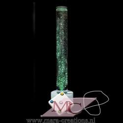 Bubbelbuis + INTERACTIEF + KABEL, Ø: 15 cm, H: 140 cm, Verlichting: LED, Autom. kleurwisseling, Voet: Rond, Kleur voet: Wit
