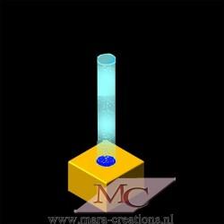 Bubble-Unit Ø: 12 cm, Totale hoogte: 125 cm, Wanddikte 3 mm, Verlichting: Autom. kleurenwisseling, Voet: zacht bekleed.