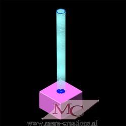 Bubble-Unit Ø: 12 cm, Totale hoogte: 225 cm, Wanddikte 3 mm, Verlichting: Autom. kleurenwisseling, Voet: zacht bekleed.