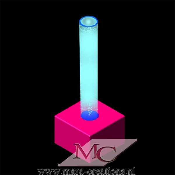Bubble-Unit Ø: 15 cm, Totale hoogte: 125 cm, Wanddikte 3 mm, Verlichting: Autom. kleurenwisseling, Voet: zacht bekleed.