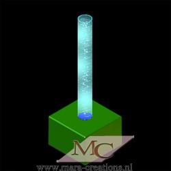 Bubble-Unit Ø: 15 cm, Totale hoogte: 225 cm, Wanddikte 3 mm, Verlichting: Autom. kleurenwisseling, Voet: zacht bekleed.