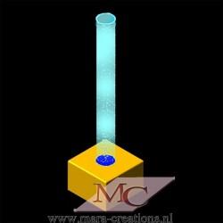 Bubble-Unit Ø: 20 cm, Totale hoogte: 125 cm, Wanddikte 3 mm, Verlichting: Autom. kleurenwisseling, Voet: zacht bekleed.