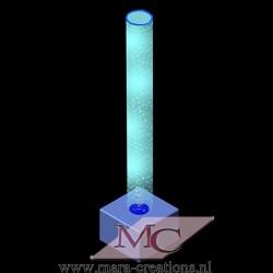 Bubble-Unit Ø: 20 cm, Totale hoogte: 225 cm, Wanddikte 3 mm, Verlichting: Autom. kleurenwisseling, Voet: zacht bekleed.